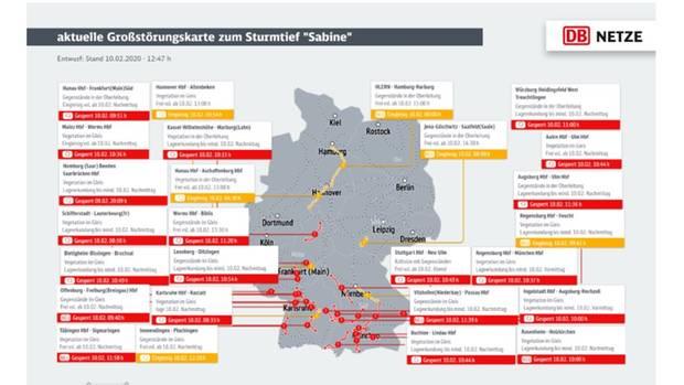 DB Netze Störungen Sturm Sabine