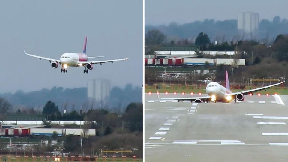 """Orkantief """"Sabine"""" erschwert Wizz-Air-Flug vdie Landung."""