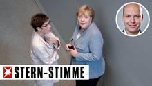 Annegret Kramp-Karrenbauer (l.), CDU-Parteivorsitzende, und Bundeskanzlerin Angela Merkel (CDU)