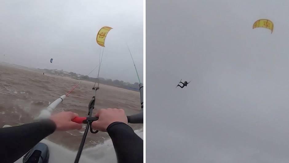 Kitesurfen im Sturmtief: Der Engländer Tom Bridge wird 18 Meter hoch durch die Luft gewirbelt.