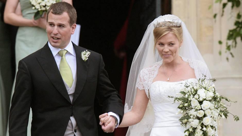 Peter Phillips und seine Frau Autumn bei ihrer Hochzeit im Mai 2008