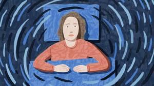 Zeichnung einer Frau im Bett, Schwindel