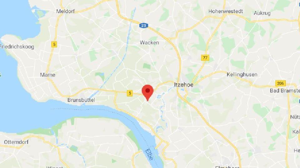 Eine karte von Google Maps zeigt einen Teil Schleswig-Holsteins
