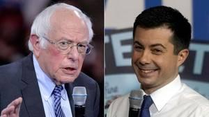 Nach der ersten Vorwahl der Demokraten auf Rang eins und zwei: Pete Buttigieg (r.) und Bernie Sanders