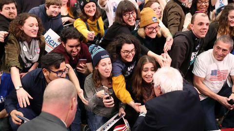 Bernie Sanders mit jungen Anhängern