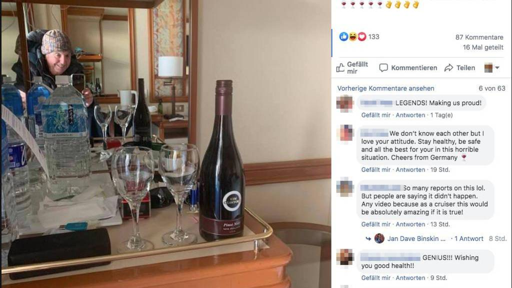 Wegen Coronavirus gestrandet: Ehepaar lässt sich Wein per Drohne aufs Schiff liefern
