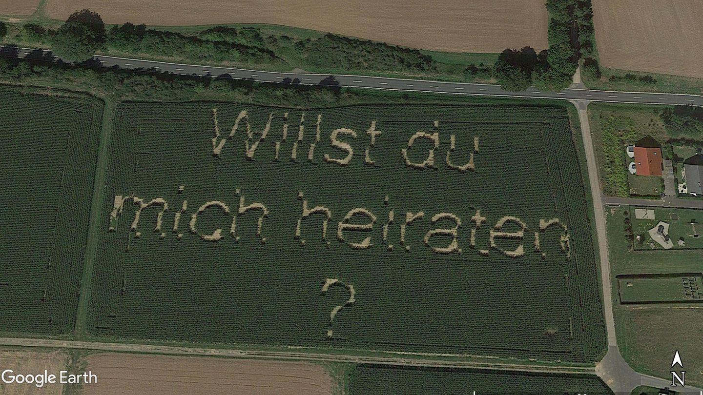 """""""Willst Du mich heiraten ?"""", steht auf einem Feld in Hessen"""