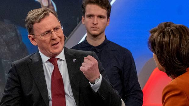 Der ehemalige Ministerpräsident Thüringens Bodo Ramelow im Gespräch mit Sandra Maischberger
