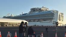 """Die""""Diamond Princess im Hafen von Yokohama"""