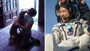 Astronautin Christina Koch wird stürmisch von ihrem Hund begrüßt.