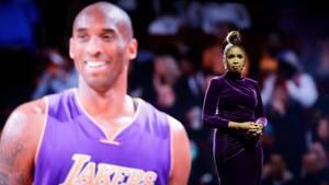 Kobe Bryant auf einer Anzeigetafel, davor singt Jennifer Hudson