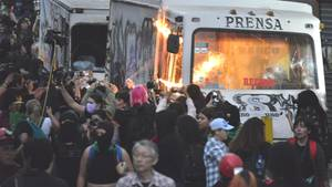 Mexiko-Stadt: Demonstranten bei einem Protest gegen Gewalt gegen Frauen