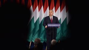Ungarns Regierungschef Viktor Orbán während seiner Rede zur Lage der Nation
