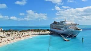 """100 Kilometer östlich von Miami: Die """"MSC Devina"""" hat am Kai von Ocean Cay auf den Bahmas festgemacht."""