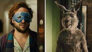 Mann mit Kühl-Augenmaske, Känguru