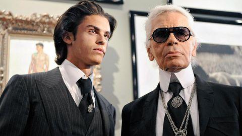 Baptiste Giabiconi und Karl Lagerfeld
