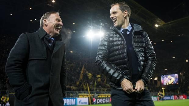 Haben selten so herzhaft zusammen gelacht: BVB-Geschäftsführer Hans-Joachim Watzke und sein damaliger Trainer Thomas Tuchel im November 2016