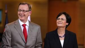 Bodo Ramelow (Die Linke, l.) und Christine Lieberknecht (CDU)