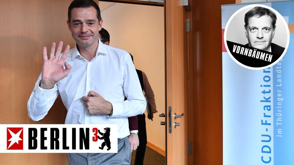 Mike Mohring verlässt Räume der CDU-Fraktion im Landtag Thüringen