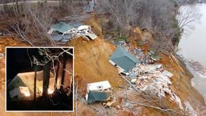 Ein Erdrutsch in Tennessee reißt zwei Häuser am Ufer in die Tiefe