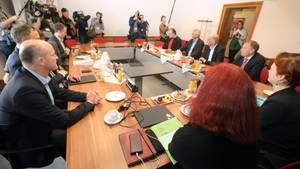 Vertreter von Die Linke, SPD, Bündnis 90/Die Grünen und CDU