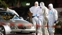 Polizei am Tatort in Hanau