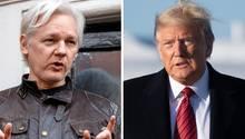 Julian Assange und Donald Trump (r.)