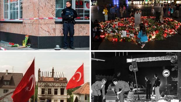 Tatort in Hanau, Trauer und Gedenken in Halle/Saale, Haus nach Brandanschlag in Solingen, Tatort des Oktoberfestattentats