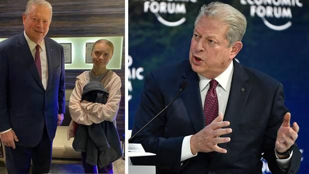 Klimaaktivisten unter sich: Al Gore trifft sich beim Weltwirtschaftsforumin Davos mit Greta Thunberg.