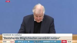 Horst Seehofer hält eine Pressekonferenz zum Anschlag in Hanau ab