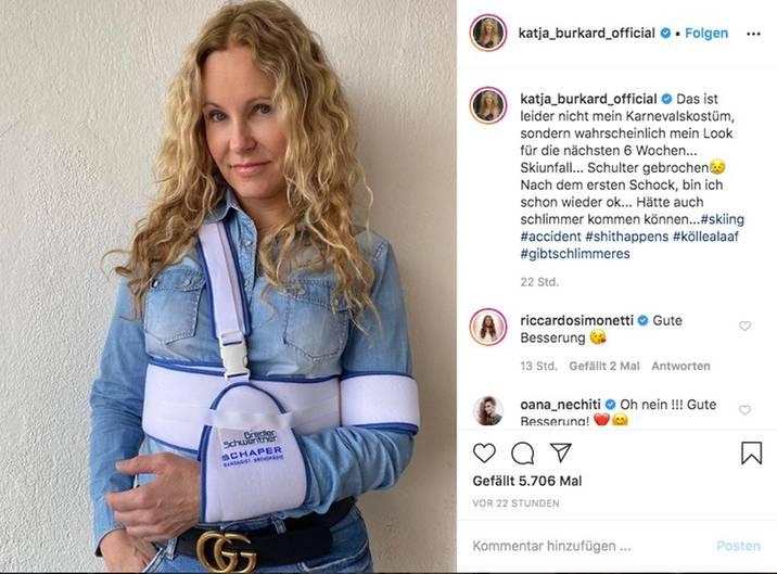 Vip News: Katja Burkard hat sich beim Skifahren die Schulter gebrochen
