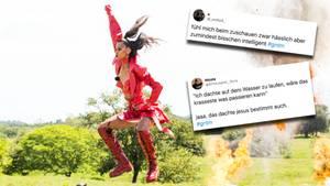 """GNTM: Beim """"Action-Shooting"""" müssen sich die Kandidatinnen mit Pyrotechnik und Geländemotorrad ablichten lassen."""