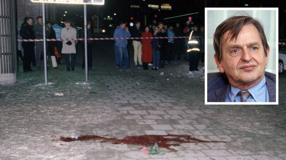 Großes Bild: Der Tatort des Palme-Mordes. Kleines Bild: Olof Palme