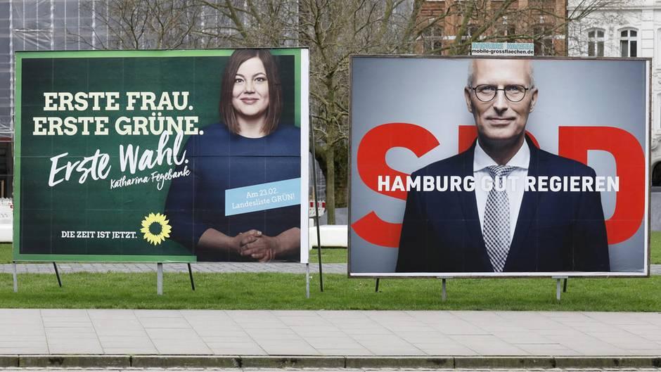 Wahlplakate zur Bürgerschaftswahl mit Katharina Fegebank und Peter Tschentscher