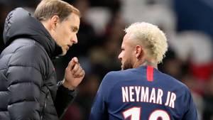 Thomas Tuchel und Neymar im Januar 2020 während eines Liga-Pokalsspiel