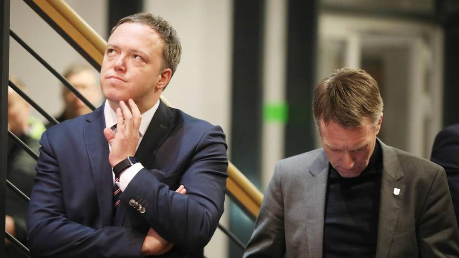 Der stellvertretende Landesvorsitzende der Thüringer CDU, Mario Voigt (l.), und Generalsekretär Raymond Walk