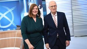 Die Spitzenkandidaten der SPD, Peter Tschentscher, der Grünen Katharina Fegebank während der TV-Runde.
