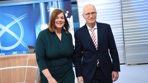 Peter Tschentscher und Katharina Fegebank nach der Wahl in Hamburg