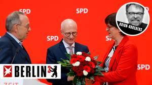 Die SPD-Vorsitzenden Norbert Walter-Borjans und Saskia Esken und Bürgermeister Peter Tschentscher