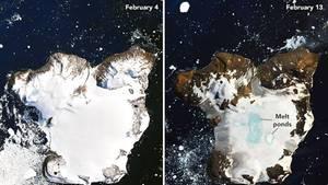 Satellitenbilder zeigen das Abschmelzen des Eises in der Antarktis