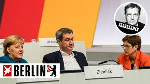 Bundeskanzlerin Angela Merkel (CDU), CSU-Parteichef Markus Söder und CDU-Parteichefin Annegret Kramp-Karrenbauer