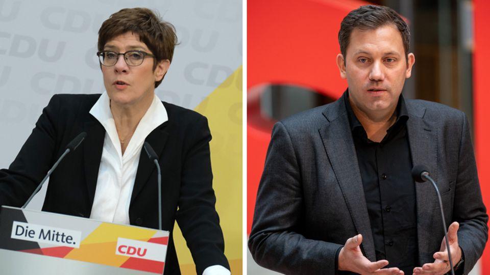 Annegret Kramp-Karrenbauer (l.), CDU-Parteichefin, und Lars Klingbeil, SPD-Generalsekretär