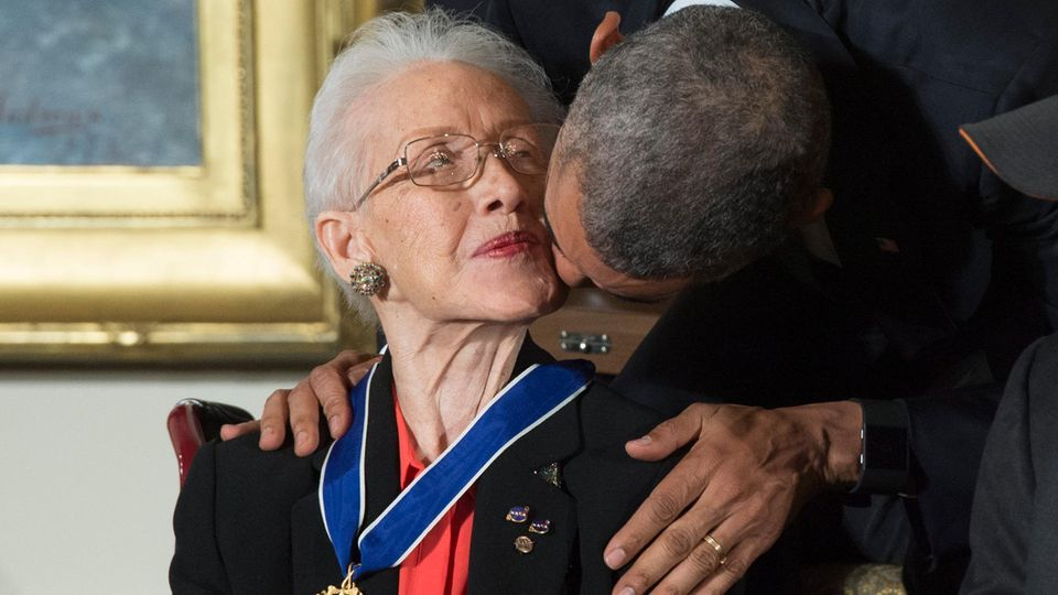 Katherine Johnson und Barack Obama