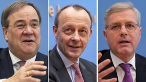 Die drei CDU-Kandidaten Armin Laschet - Friedrich Merz - Norbert Röttgen
