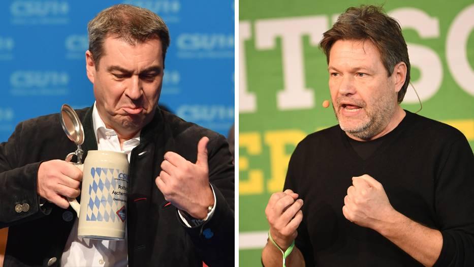 Markus Söder, CSU-Parteichef, und Robert Habeck, Co-Vorsitzender von Bündnis 90/Die Grünen