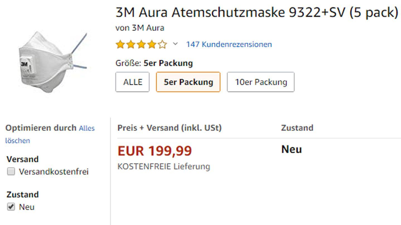 Preis verzwanzigfacht: Atemschutzmaske eines Drittanbieters auf Amazon