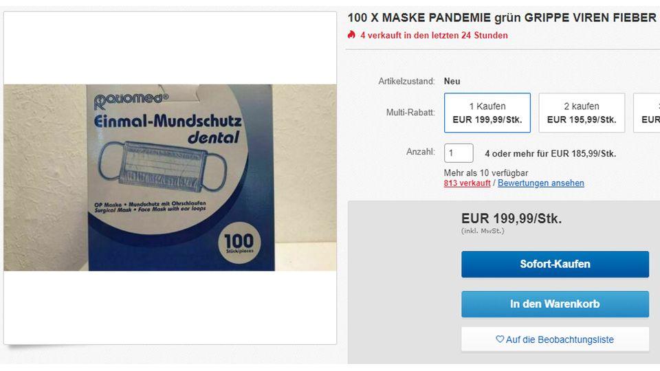Angebot für Einmal-Mundschutz auf Ebay