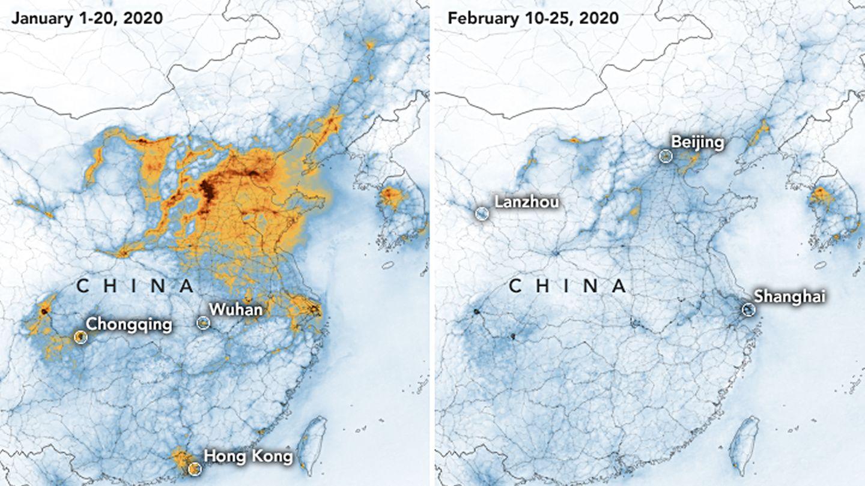 Die Karten der Nasa zeigen die Konzentrationen von Stickstoffdioxid in China vor der Quarantäne wegen des Coronavirus und danach