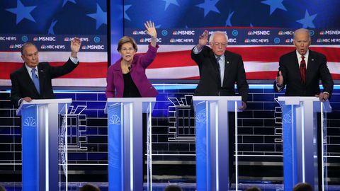 Michael Bloomberg, Elizabeth Warren, Bernie Sanders und Joe Biden