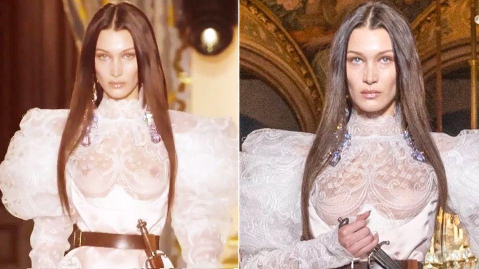 Bella Hadid oben ohne: Supermodel posiert mit Dolch in transparentem Brautkleid